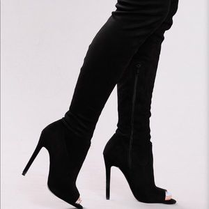 5.5 Black Suede Thigh High Boots